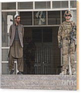 U.s. Army Soldier Stands Guard In Farah Wood Print