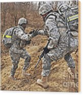 U.s. Army Soldiers Helps A Fellow Wood Print
