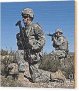 U.s. Army Soldiers Scan The Terrain Wood Print