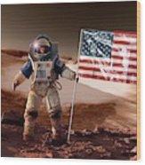 Us Astronaut On Mars Wood Print