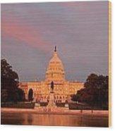 Us Capitol At Sunset Wood Print