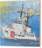 Us Coast Guard Cutter Munro Nautical Chart Cape San Blas Lighthouse Fl Nautical Chart Cathy Peek Wood Print