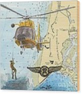 Us Coast Guard Rescue Swimmer Nautical Chart Art Cathy Peek Wood Print