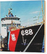 Us Coast Guard Ship Wood Print by Thomas R Fletcher