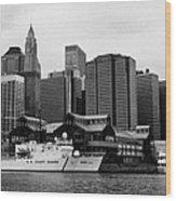 Us Coastguard Cutter Vessel Ship Berthed In Lower Manhattan New York City Wood Print