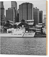 Us Coastguard Cutter Vessel Ship Berthed In Lower Manhattan On The East River New York City Wood Print