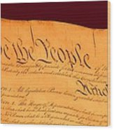 Us Constitution Closest Closeup Red Brown Background Larger Sizes Wood Print