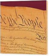 Us Constitution Closeup Violet Red Bacjground Wood Print