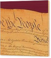 Us Constitution Closest Closeup Violet Red Background Wood Print