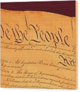 Us Constitution Closeup Red Brown Background Wood Print by L Brown