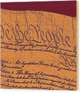 Us Constitution Closeup Sculpture Violet Red Background Wood Print