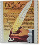 Us Constitution Stamp Wood Print