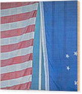Us Flag And Conch Republic Flag Key West  - Panoramic - Hdr Style Wood Print by Ian Monk