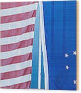 Us Flag And Conch Republic Flag Key West  - Panoramic Wood Print by Ian Monk