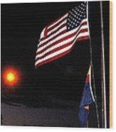 Us Flag Arizona Flag Twilight Casa Grande Arizona 2005 Wood Print