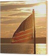 Us Flag At Sunset Wood Print