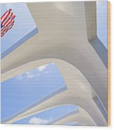 U.s.  Flag At The Uss Arizona Memorial Wood Print
