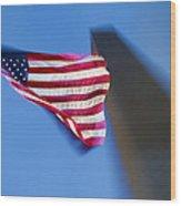 Us Flag At Washington Monument At Dusk Wood Print