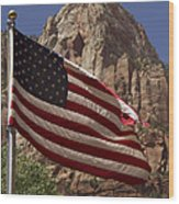 U.s. Flag In Zion National Park Wood Print