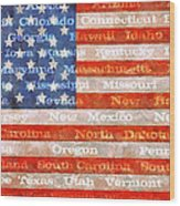Us Flag With States Wood Print