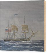 Us Frigate Gives Chase In Stormy Weather Wood Print by Elaine Jones