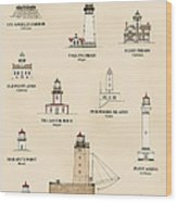 Lighthouses Of The West Coast Wood Print