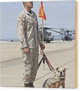 U.s. Marine And The Official Mascot Wood Print