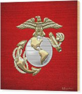 U. S. Marine Corps Eagle Globe And Anchor - E G A On Red Leather Wood Print