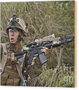 U.s. Marine Corps Machine Gunner Wood Print
