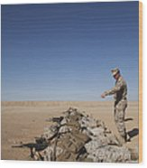 U.s. Marine Corps Officer Directs Wood Print
