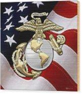 U. S. Marine Corps - U S M C Eagle Globe And Anchor Over American Flag. Wood Print