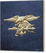 U. S. Navy S E A Ls Emblem On Blue Velvet Wood Print