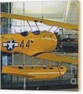 U.s. Navy Yellow Peril Float Biplane Wood Print