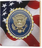 Presidential Service Badge - P S B Over American Flag Wood Print