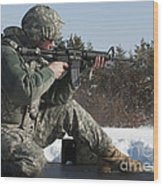 U.s. Soldier Fires His M4a3 Carbine Wood Print