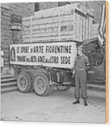 U.s. Soldier Guards A Truck Holding Wood Print