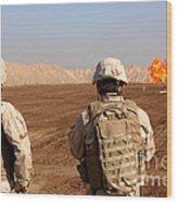 U.s. Soldiers Detonate A Test Explosion Wood Print