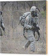 U.s. Soldiers Don Chemical Warfare Gear Wood Print