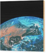 Usa & Mexico From Space Wood Print
