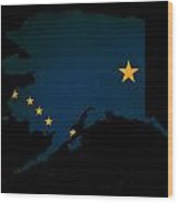 Usa American Alaska State Map Outline With Grunge Effect Flag Wood Print