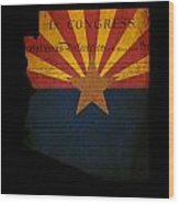 Usa American Arizona State Map Outline With Grunge Effect Flag A Wood Print