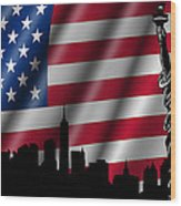 Usa American Flag With Statue Of Liberty Skyline Silhouette Wood Print
