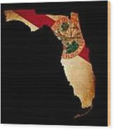 Usa American Florida State Map Outline With Grunge Effect Flag Wood Print