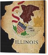 Usa American Illinois State Map Outline With Grunge Effect Flag Wood Print