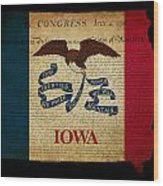 Usa American Iowa State Map Outline With Grunge Effect Flag And  Wood Print