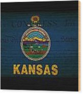 Usa American Kansas State Map Outline With Grunge Effect Flag An Wood Print