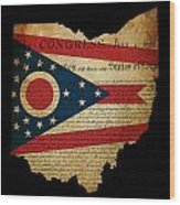 Usa American Ohio State Map Outline With Grunge Effect Flag Inse Wood Print