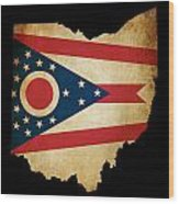 Usa American Ohio State Map Outline With Grunge Effect Flag Wood Print