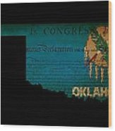 Usa American Oklahoma State Map Outline With Grunge Effect Flag  Wood Print
