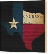 Usa American Texas State Map Outline With Grunge Effect Flag Ins Wood Print by Matthew Gibson